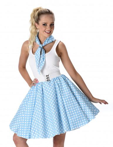 Disfarce anos 50 azul às bolas brancas mulher-1