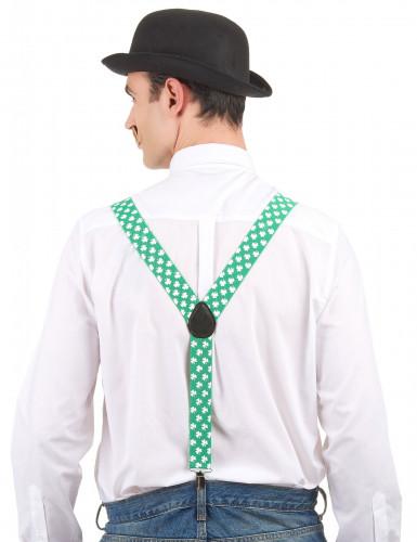 Suspensórios verdes com trevos brancos São Patrício-1
