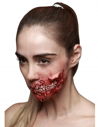 Ferida falsa com dentes adulto Halloween