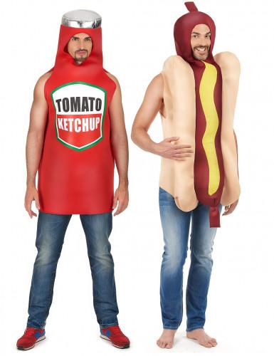 Disfarce de casal cachorro-quente e ketchup adulto