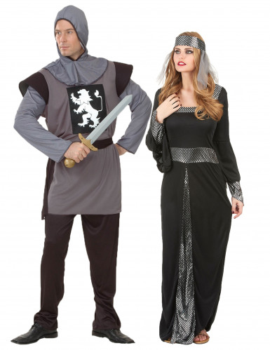 Disfarce de casal medieval cinzento e preto adulto