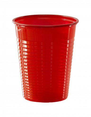 50 Copos de plástico vermelho 20 cl