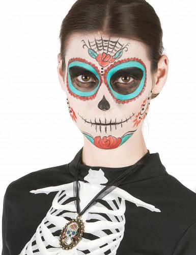 Colar metal esqueleto dia dos mortos - mulher-1