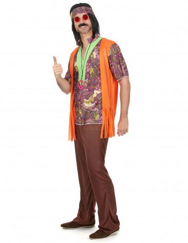 Disfarce de casal hippie cor de laranja adulto-1