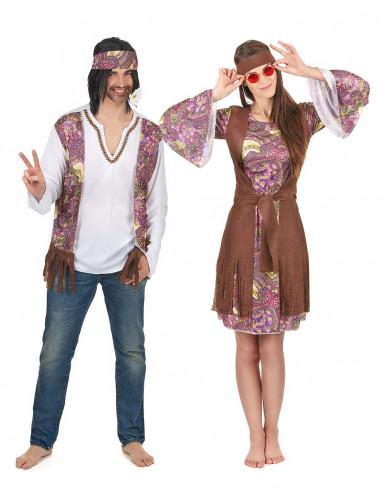 Disfarce de casal hippie lilás adulto
