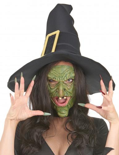 Meia máscara de látex nariz e queixo bruxa verde adulto-1