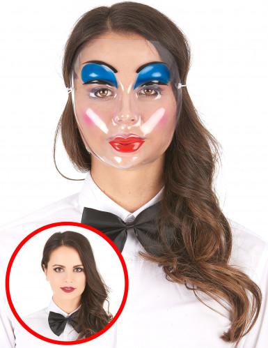 Máscara transparente com maquilhagem para mulher