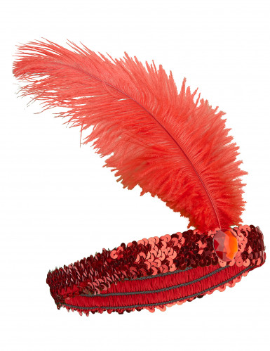 Bandolete charlestone com lantejoulas e pluma vermelho mulher