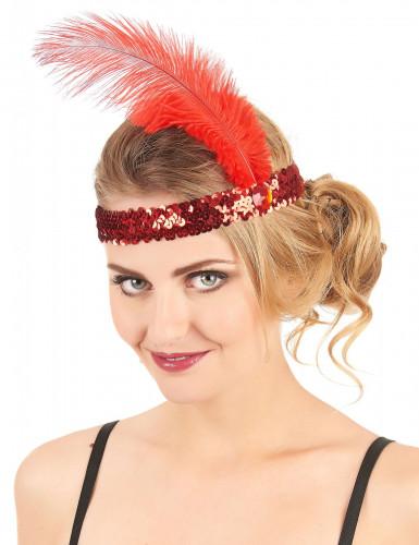 Bandolete charlestone com lantejoulas e pluma vermelho mulher-1