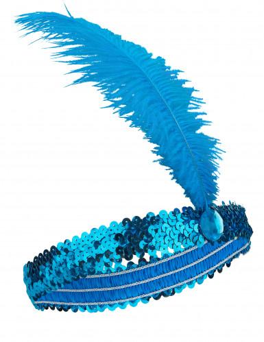 Bandolete charlestone com lantejoulas e pluma azul mulher