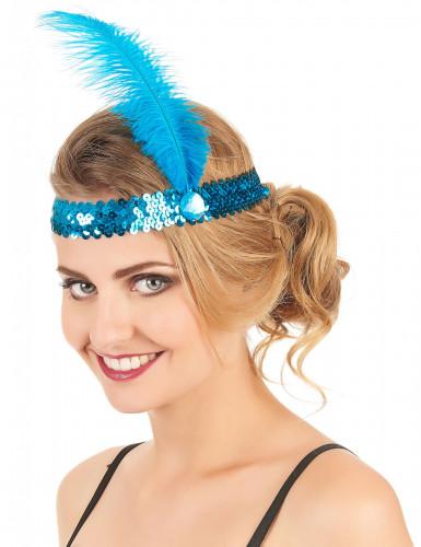 Bandolete charlestone com lantejoulas e pluma azul mulher-1