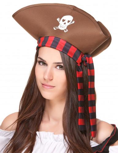 Chapéu de pirata castanho adulto-1