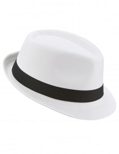 Chapéu borsalino branco com fita preta adulto