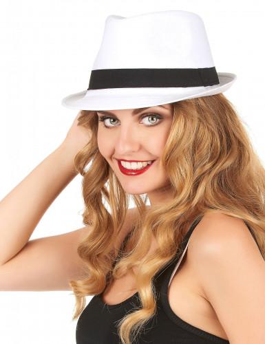 Chapéu borsalino branco com fita preta adulto-1