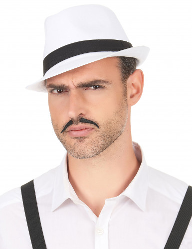 Chapéu borsalino branco com fita preta adulto-2