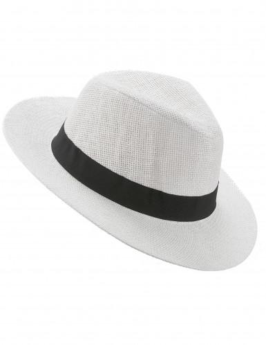Chapéu Panamá branco com fita preta - adulto