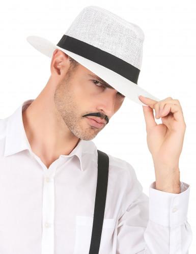 Chapéu Panamá branco com fita preta - adulto-2
