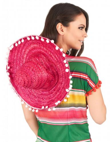 Sombrero mexicano cor-de-rosa adulto-2