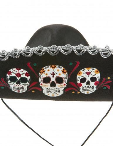 Sombrero preto Dia de los Muertos adulto-1