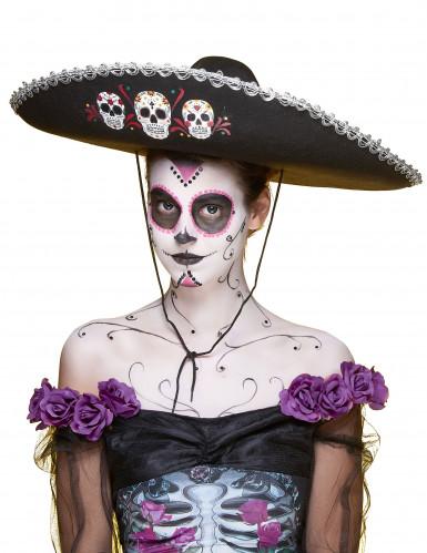Sombrero preto Dia de los Muertos adulto-3