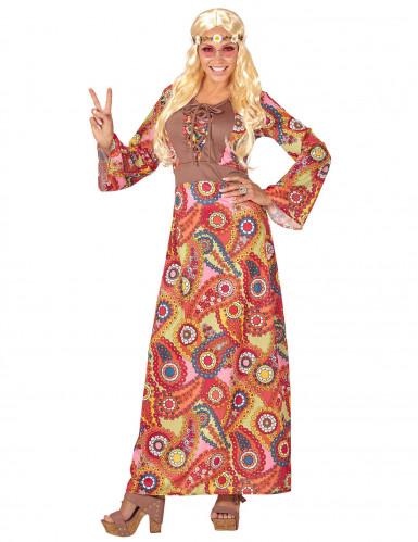 Disfarce vestido comprido hippie colorido mulher