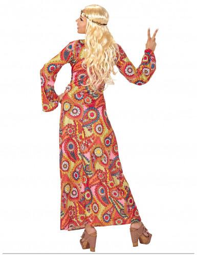 Disfarce vestido comprido hippie colorido mulher-1