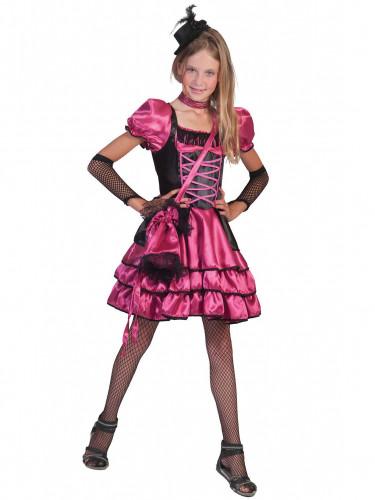 Disfarce dançarina cabaret cor-de-rosa e preto menina
