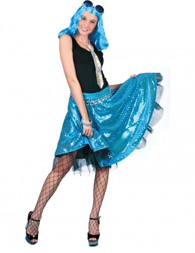Saia disco azul com lantejoulas mulher