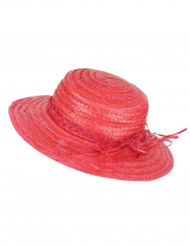 Chapéu de palha vintage vermelho mulher