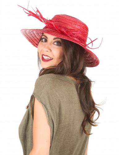 Chapéu de palha vintage vermelho mulher-1