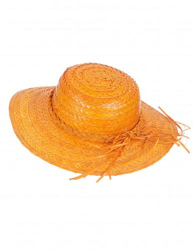 Chapéu de palha vintage cor de laranja mulher
