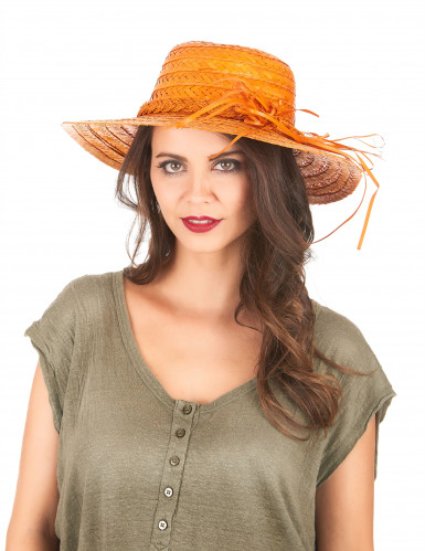 Chapéu de palha vintage cor de laranja mulher-1