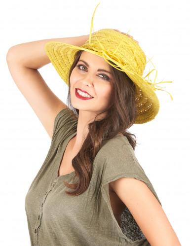 Chapéu de palha vintage amarelo mulher-1