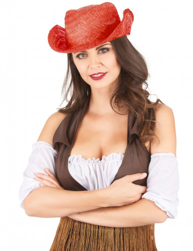 Chapéu de palha Western vermelho adulto-1