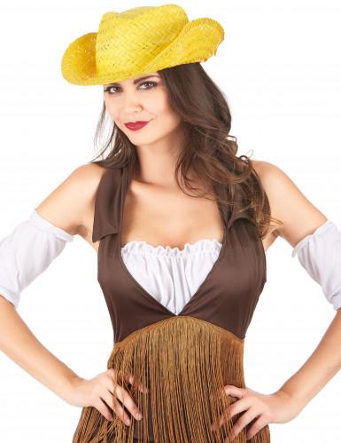 Chapéu de palha Western amarelo adulto-1