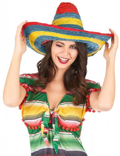 Sombrero mexicano vermelho-verde-amarelo adulto-1