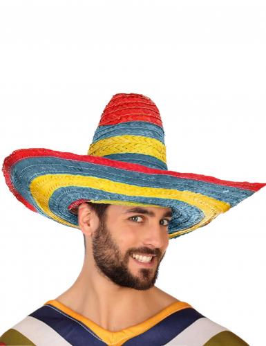 Sombrero mexicano vermelho-verde-amarelo adulto-2