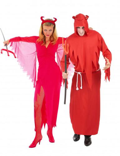 Disfarce de casal diabo vermelho Halloween