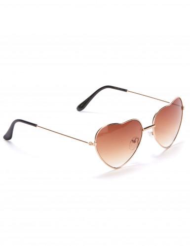 Óculos castanhos coração metal adulto