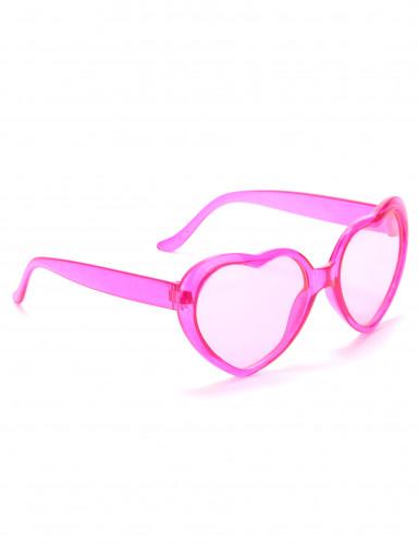 Óculos cor-de-rosa coração plástico adulto