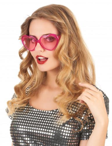 Óculos cor-de-rosa coração plástico adulto-1