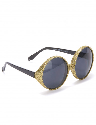 Óculos redondos brilhantes dourados adulto