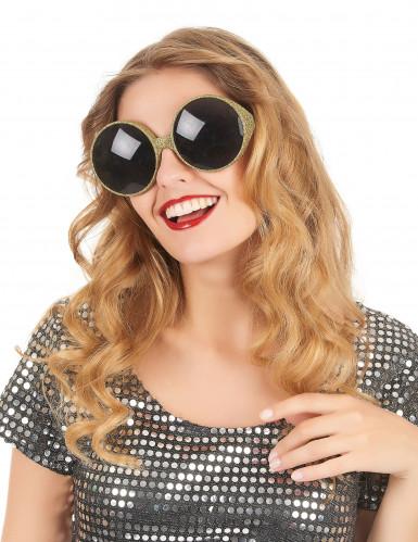 Óculos redondos brilhantes dourados adulto-1
