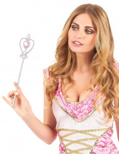 Varinha princesa coração cor-de-rosa prateado adulto e criança-1
