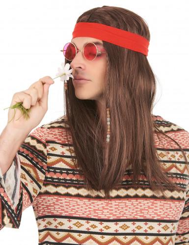 Peruca pirata ou hippie com bandana adulto-1