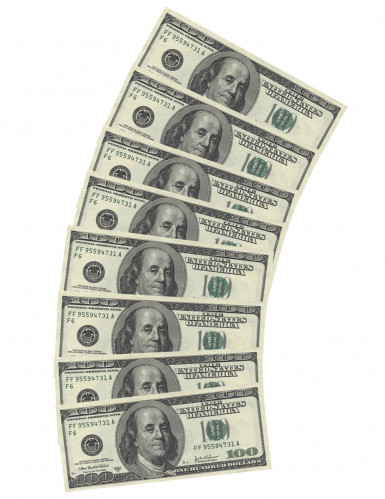10 Guardanapos de papel retangulares Dólares