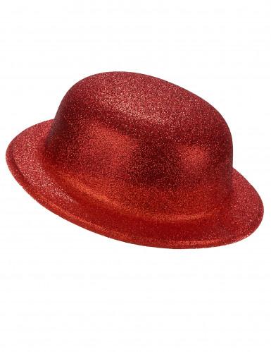 Chapéu coco plástico brilhante vermelho adulto