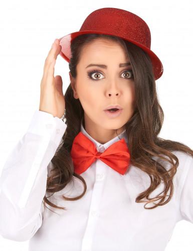 Chapéu coco plástico brilhante vermelho adulto-1