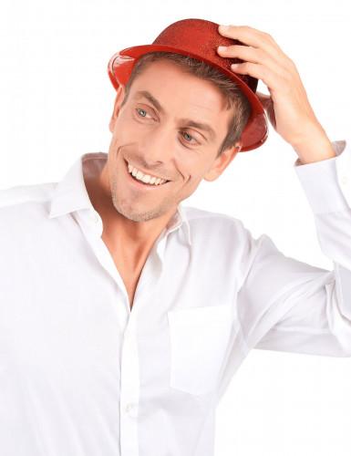 Chapéu coco plástico brilhante vermelho adulto-2