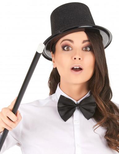 Chapéu de plástico preto brilhante adulto-1